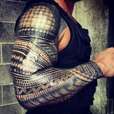 The greatest Samoan sleeve ever #polynesian #tattoo