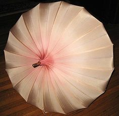 1950s Vintage Umbrella Pink Hues Pagoda Parasol with Lucite Handle
