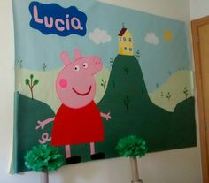Mural para fiesta de Peppa Pig. Peppa Pig Party decoration. Más en http://www.elnostreespai.com/fotos/