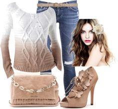 """white & brown"" by sommer-84 on Polyvore"