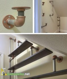 interesting application of pipe fittings to support shelves from top bottom haus renovieren