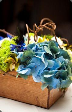 hydrangea, green mums, delphinium, kiwi vinein a box. lush couture floral design and nine photo