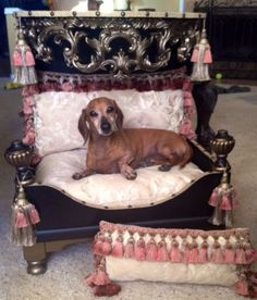 New! Luxury Hand Crafted Solid Wood Dog Bed