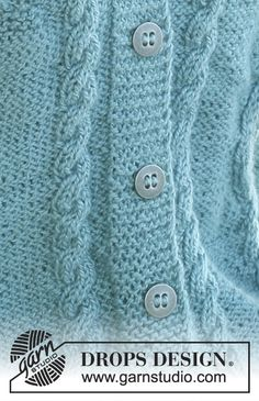 """DROPS A-shaped jacket with cables and berry pattern in """"Silke Alpaca"""". Size S – XXXL. Knitting Patterns Free, Stitch Patterns, Free Pattern, Free Knitting, Drops Design, Drops Patterns, Textures Patterns, Pattern Library, Short Sleeve Cardigan"""
