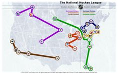 Map showing the current Conference and Division breakdown of the NHL