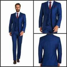 Men Wedding Suits 3 Pieces Royal Blue Jacket Pants with Waistcoat ...