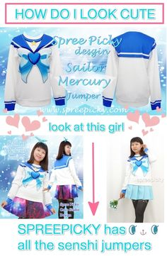 how to become a cute #sailormoon like #sailormercury ? Must go to #spreepicky you will find all the #senshi jumpers with cute price and #FREESHIPPING worldwide! and FAST too!  Link to the jumper http://spreepicky.storenvy.com/products/10331124-spree-pikcy-original-design-sailor-mercury-jumper-pre-order-sp141472