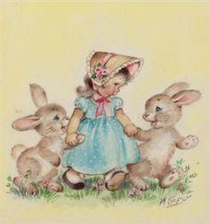 Little Girl with Bunnies By Marjorie Cooper