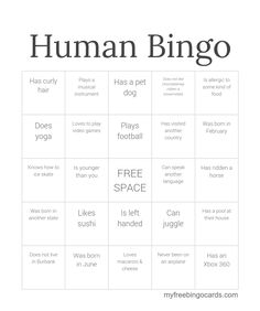 free human bingo icebreaker template click to make your own custom version icebreaker games