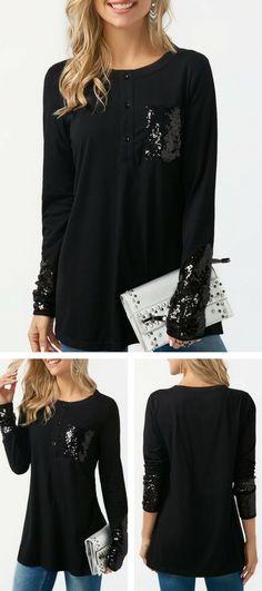 Sequin Embellished Long Sleeve Black T Shirt#tshirt#tshirtfashion#black#sequins