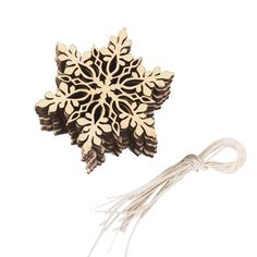 10pcs Merry Christmas Tree Hanging White Snowflake Ornaments Decoration  Christmas Holiday Party Home Decor (Wood Color)  Price: 1.87 USD