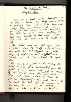 Handwritten Chapter 1 of 'A Graveyard Book' by Neil Gaiman