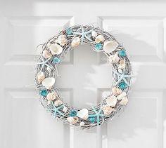 Live Dried Blue Seashell Wreath #potterybarn