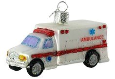 Old World Christmas Ambulance Glass Blown Ornament:   An ambulance is a vehicle used to transport ill or injured people. It contains life-support equipment and is staffed with well-trained medical personnel, so patients receive specialized care while being transported to the hospital.