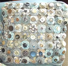 ~ Yo Yo Pillow in Ice Blue  & Teal ~ Love the Button Centers....