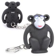 """Monkey keychain with blue LED light and """"monkey-speak"""" sound. One color logo. As low as $4.05"""