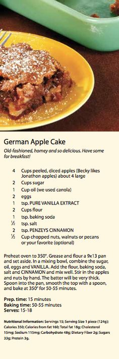 German Apple Cake  - My sweet tooth is on OVERDRIVE! YEAH BUDDY!