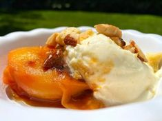 Grilled Peaches with Citrus Mascarpone Recipe | Michael Symon | Food Network Chef Recipes, Food Network Recipes, Dessert Recipes, Cooking Recipes, Desserts, Mascarpone Recipes, Baked Peach, Almond Butter Cookies, Ripe Peach
