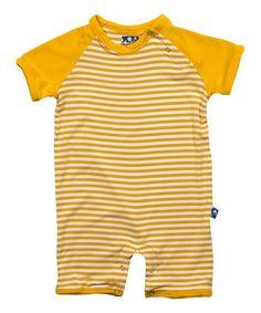 Look what I found on #zulily! Yellow Stripe Raglan Romper - Infant #zulilyfinds