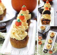 These pumpkin cupcakes are light and moist with a surprise Oreo cookie filling. They are topped with a fluffy cinnamon maple frosting and are sure to remind you of everything you love about fall.