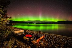 Northern Lights at Priest Lake in Northern Idaho