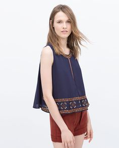 Image 1 of COLORFUL EMBROIDERED TOP from Zara