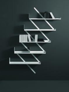 Wall-mounted steel bookcase MINIBOOXX by Desalto | design Denis Santachiara.