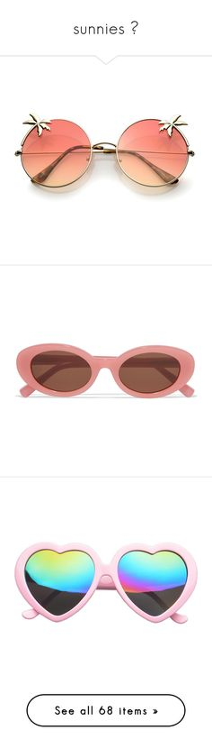 """sunnies ☼"" by faintingblue ❤ liked on Polyvore featuring accessories, eyewear, sunglasses, glasses, gradient lens sunglasses, oversized round sunglasses, flat lens sunglasses, gradient tint sunglasses, gradient sunglasses and pink"