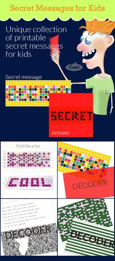 Fun free activity for kids. Secret code printable. Lots unique secret messages and codes kids will have fun deciphering