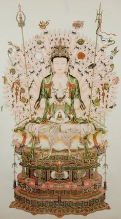 This 1000-armed representation of Kwan Yin comes from a Buddhist legend about the goddess aiding the needs of so many people facing struggle that her head split into 11 pieces. Amitabha Buddha, seeing her plight, gave her those 11 heads in order to hear the cries of the suffering and a thousand arms with which to aid them.