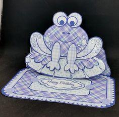 Frog Easel  Blue Patchwork by Diane  Vermeer