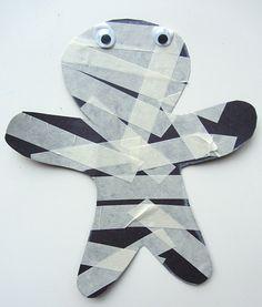 mummy craft for young kids ~ masking tape mummy Halloween craft