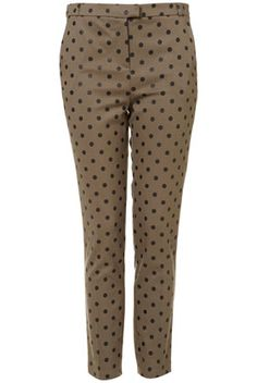 "These @Topshop khaki ""Flock Spot"" print cigarette trousers are a must-have for $76 http://rstyle.me/h92ig9mtu6"