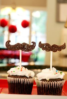 Moustache Cupcake Toppers