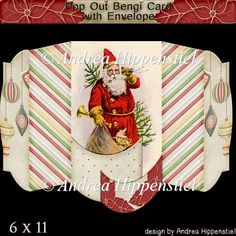 Pop Out Bengi Card Christmas Santa - £1.40 : Instant Card Making Downloads