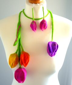 felted Flower, Hand Felted, Wool Jewelry felted  scarf/ necklace and  earrings. via Etsy.