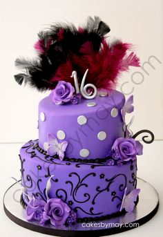 16 Sweet Sixteen Cakes | Purple and Black Sweet Sixteen Cake