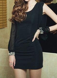 Vestido gasa cuello redondo aplique perlas mangas largas-Negro EUR€25.77