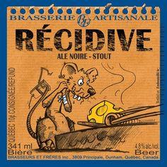Cerveja Récidive, estilo American Stout, produzida por Brasseurs et Frères, Canadá. 4.8% ABV de álcool.