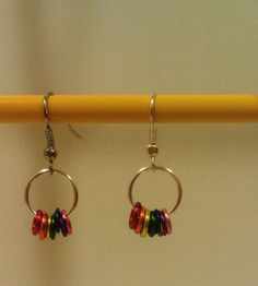 Made with colored jump rings from UnkamenSupplies  Rainbow Rings Hoop Earrings by LilypadandsandPiper on Etsy, $3.00