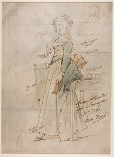 Two sketches of Marie Antoinette... Jacques Louis David