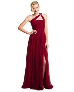 ML Monique Lhuillier Burgundy One Shoulder Gown