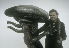 """Bolaji Badejo and H. R. Giger during the filming of """"Alien"""" directed by Ridley Scott"""