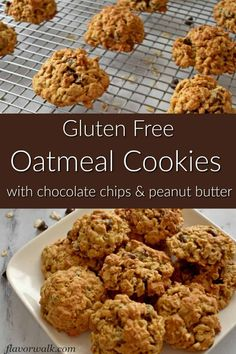 These easy to make Gluten Free Oatmeal Cookies are loaded with chocolate chips and peanut butter. They are crisp around the edges and chewy in the middle. If you like oatmeal, peanut butter, and chocolate, you have to try these gluten free cookies! Gluten Free Oatmeal Cookie Recipe, Best Gluten Free Cookies, Gluten Free Cookie Recipes, Oatmeal Cookies, Gluten Free Baking, Gluten Free Desserts, Chocolate Chips, Chocolate Chip Cookies, Oatmeal Recipes