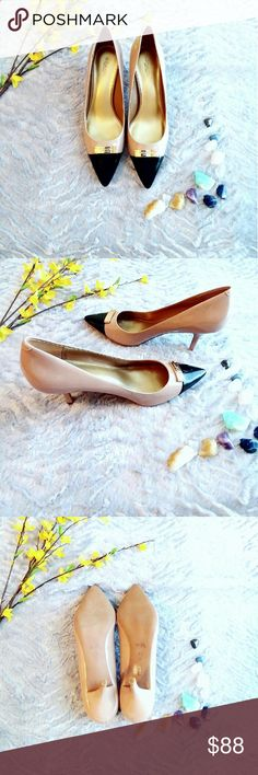New Coach Patent Leather Heels! New and never worn Coach classic patent leather heels with gold-tone plate at toe! Let these gorgeous classic  heels take you from day to night in style!   Offers welcome!  Pumps with 2 1/2 inch kitten heel Color: warm blush Zan A4576 Name brand designer Coach Shoes Heels