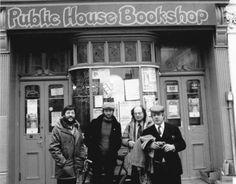 Proprietor Richard Cupidi with Lee Harwood, Allen Ginsberg and Peter Orlovsky outside the Public House Bookshop, Little Preston Street.