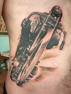 Outstanding Motorcycle Tattoo by Tyler Adams Grizzly Tattoo, via Flickr