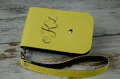 Personalized Phone Case, iPhone 4 4S, iPhone 5 5S 5C, Samsung Galaxy S3 S4 S5, iPhone Case, yellow leather Monogram  with wristlet by etoidesign on Etsy
