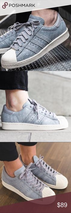 ✨✨{Adidas} Superstar Clear Gray 80S RARE, and cute. Women's size 8. Brand new in box without the lid, never been worn. Price is firm.   ❌ NO TRADES - SELLING ON POSH ONLY ❌ ❌ NO LOWBALLING ❌  ✅ Bundle Discounts ✅ Ship Next Day of Purchase   % AUTHENTIC Adidas Shoes