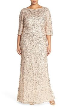 Plus size Mother of the Bride/Groom dresses don't have to be frumpy, just beautifully cut. This stunning gold and nude sequinned jersey dress is forgiving in all the right places!